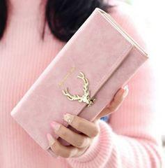 ☆本日限定価格☆ 可愛い 鹿の角モチーフ 長財布 ピンク