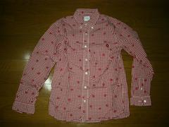 美中古グッドイナフGOODENOUGHドット系チェックシャツM赤白