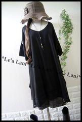 新品*夏ブラック/裾袖レースゆるチュニック*大きいサイズ*3L/4L