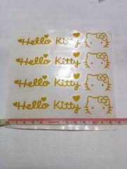 【4枚組:黄色】キティ ロゴ カッティングシート☆デカール☆ステッカー