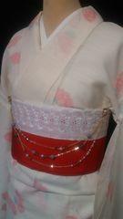 花簪ゆかたにパールの帯飾り/エレガントな紫金