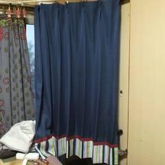 ニトリ購入ネイビー ストライプ カーテン 2枚