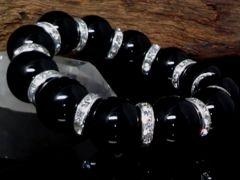 天然オニキス16ミリ銀ロンデル黒瑪瑙数珠