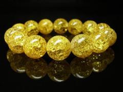 成功運アップ シトリンクラックブレスレット 14ミリ数珠パワーストーン
