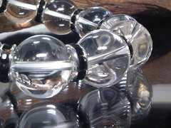 天然水晶16ミリ§ブラックロンデル数珠