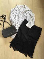 美品☆ピンキー&ダイアン デニムレースタイトスカート黒36