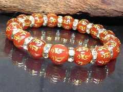 十二支梵字レッドアゲート10ミリ金ロンデル数珠