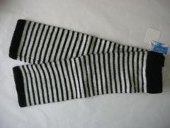 アンゴラ混筒状手袋ボーダー柄白黒丈43cmロング