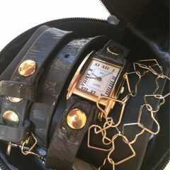 新品◆ラメールLA MER◆三連ベルト腕時計◆ハートチェーン付