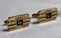 正規 ディオールDior ロゴ文字×ストライプカフス ゴールド×ブラック カフリンクス ボタン