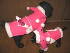 J08)XLサイズ!ハートモコモココートピンク白ジャケット犬服セレブ防寒dog