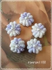 ハンドメイド♪レース編みお花のミニモチーフ5個セット 18