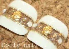 みぢょ!親指用ペディチップ2枚ホワイト白×クリアラメボーダー貝殻シェル/スワロジェル