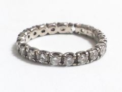 6235/プラチナ素材pt100ジルコニアダイヤモンドエタニティリングサイズ10号位★