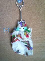 ■ハンドメイド/キーホルダー/ミニ巾着/和柄白(緑)