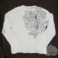 YGG★オラオラ系★鯉刺繍柄 和柄 長袖 Tシャツ 白 M