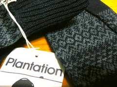 プランテーション紺ニット手袋ウール100%高品質ニット