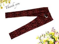 新品 赤 黒 アラベスク 総柄 スキニー パンツ S 61