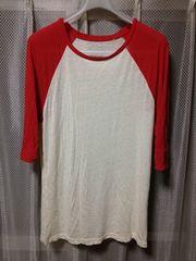 ポール&ジョー ラグラン 七分袖Tシャツ カットソー Mサイズ アイボリー白×赤 古着 ロンT