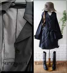 新品*春コート/スプリングコート/ブラック*大きいサイズ*LL