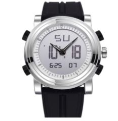 スポーツ腕時計 デジタル アナログ 多機能 LED黒