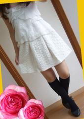184新品★キルト 白 デートに可愛いフレアーミニスカート