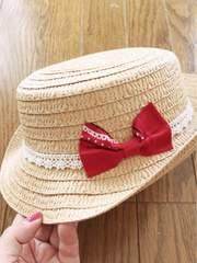 ベージュにレース赤シンプルバンダナリボン麦わらカンカン帽子