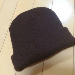 新品◆子供用シンプルニット帽◆焦げ茶◆男女児OK