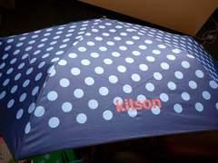 キットソン折りたたみ傘ドット柄ロゴ