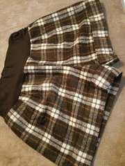ウールショートパンツ起毛素材チェック柄ブラウンホワイトM-L