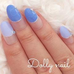 みぢょ!短めオーバル2色のブルー爽やか可愛いホワイトフラワー丸フレンチ