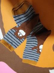 新品、靴下、くつ下、22�p〜25�p、熊、クマ、動物、ボーダー
