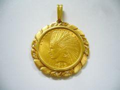 インディアンコイン1915年 10ドル金貨 トップ 枠ダイヤ入り