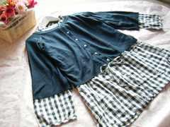 大きいサイズ3Lギンガムチェックシャツチュニック&カーディガン2点セット☆ネイビー
