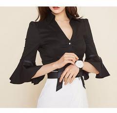 XL ブラウス シャツ ブラック ベルスリーブ リボン 今期 新品