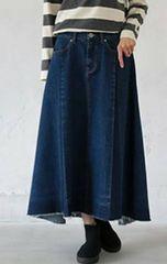 デニム配色ロングスカート