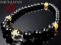 オニキス&金龍&大梵字水晶数珠ネックレス/キリーク戌亥