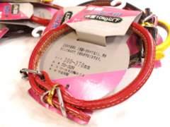 送円~07kg10kg赤牛皮革丸首輪2枚縫いTO-32Red#3ロールレッド30~37Dogs