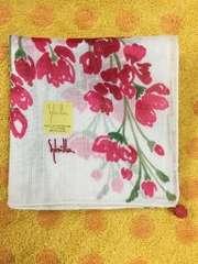 シビラ お花柄ポンポンつき大判ハンカチ