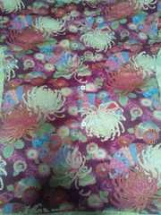 ☆新品赤紫×着物風流水に大輪花扇子和柄ダボシャツS