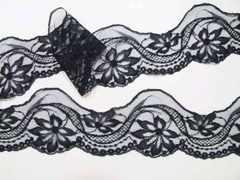 ラッセルレース 黒 ブラック 8cm幅 5m