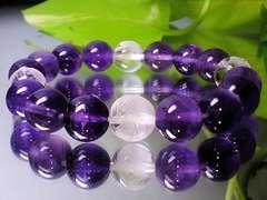 素彫四神獣水晶・天然アメジスト紫水晶10ミリ数珠