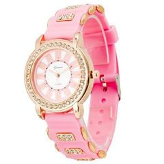 今回限500円★ダイヤモンド風装飾時計ピンク 初期不良保証