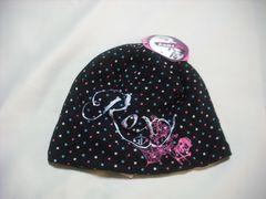 wb191 ROXY ロキシー ニット帽 内側フリース 水玉