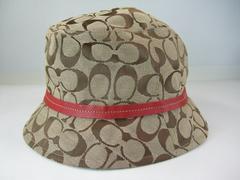美品コーチシグネチャーレディースハット帽子