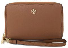 新品同様正規トリーバーチ財布リスレット付ラウンドファスナーレザーブラウン茶色