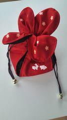 赤巾着うさぎ花模様かわいい浴衣バッグ手提げ和風古風黒金