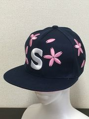 送込 ぷっくり 桜柄 刺繍 帽子 可愛い キャップ ネイビー
