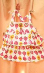 新品◆ダブルガーゼ2段フリルキャミソールチュニック130苺イチゴ
