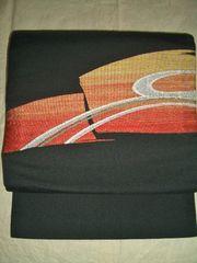 黒地に刺繍の簡単帯・軽装帯